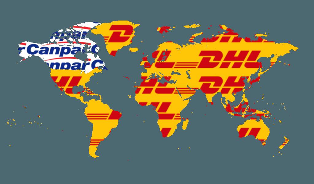 DHl & Canpar shipping worldwide